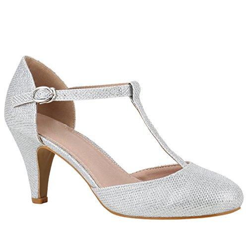 Damen Schuhe Pumps Mary Janes Blockabsatz High Heels T-Strap 156188 Silber T-Strap 40 Flandell