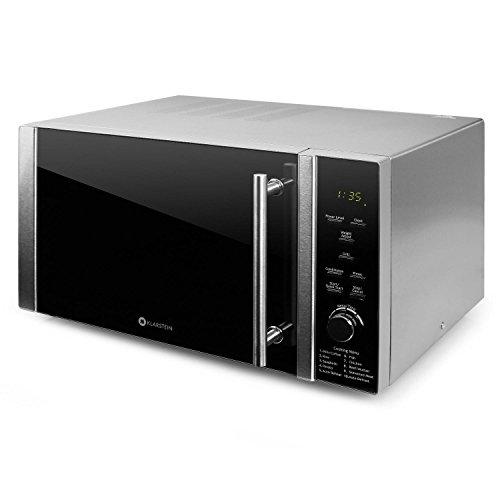 Klarstein Luminance Prime Microondas con Grill - 28L, 900W + 1000W (Parrilla), 12 programas, Temporizador hasta 60 min, Vidrio de Seguridad, Frontal semireflejante Negro, Acero Inoxidable