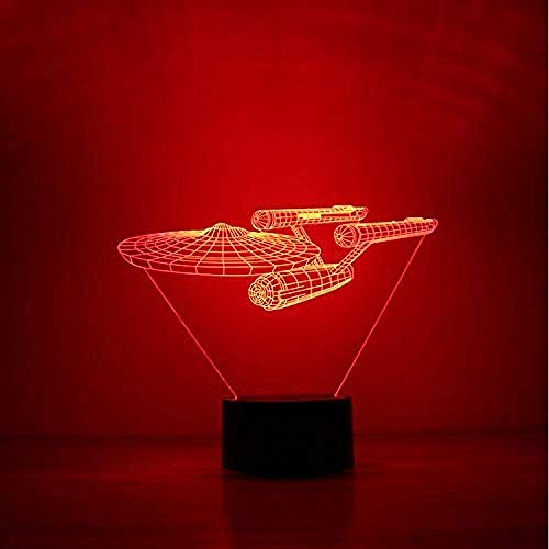 Lámpara de ilusión óptica Novedad 3D Star Trek Night Light Led Battleship Table Lamp Regalo para niños USB Airship Lamp Decor Baby Bedside Sleep Night Light