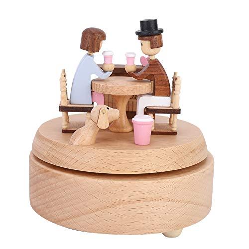 BYRASS Coffee Love Story Music Caja de música de Madera con Forma distintiva Caja Musical giratoria para la decoración de la Mesa del hogar Regalo de cumpleaños