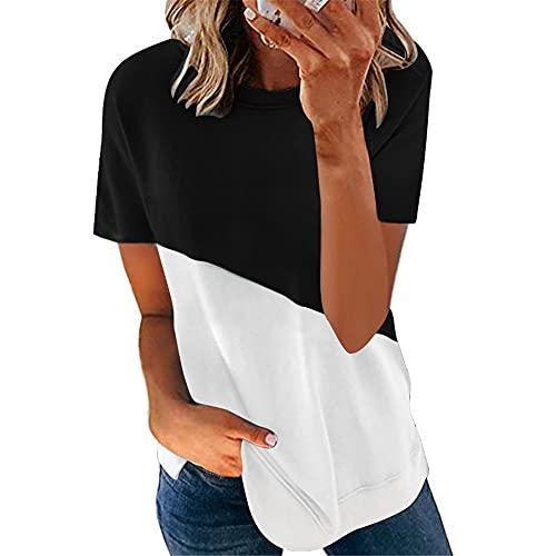 Camisetas Mujer Sueltas Cómodas Moda Casual Contraste De Colores Cuello Redondo Manga Corta Mujeres Tops Verano Nuevas Elegante Mujer Blusa E-Black White XL