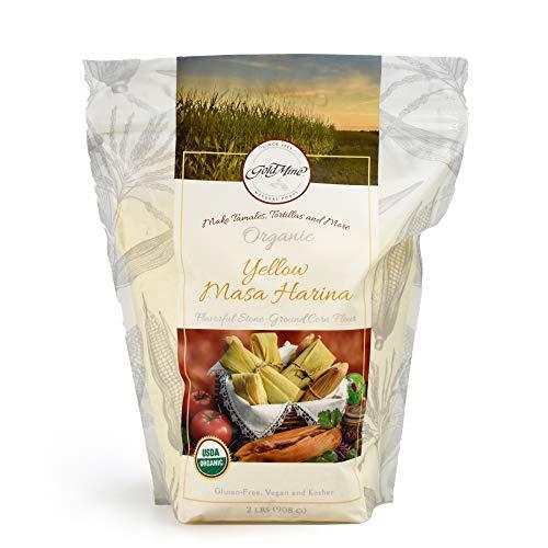 Gold Mine Yellow Corn Masa Harina - USDA Organic - Macrobiotic, Vegan, Kosher and Gluten Free Flour for Healthy Mexican Dishes - 2 LBS
