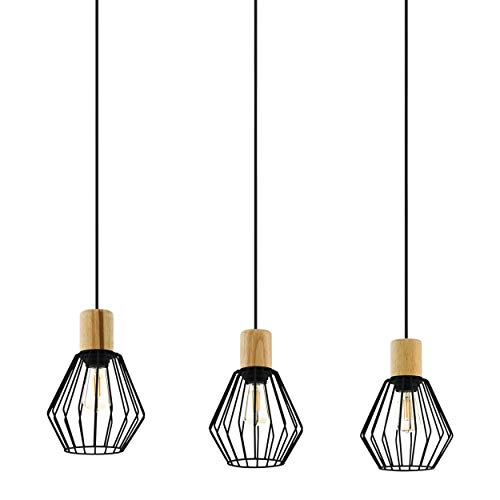EGLO Palmorla - Lámpara de techo colgante de 3 focos, vintage, industrial, retro, de acero y madera en negro, natural, mesa de comedor, lámpara colgante con casquillo E27