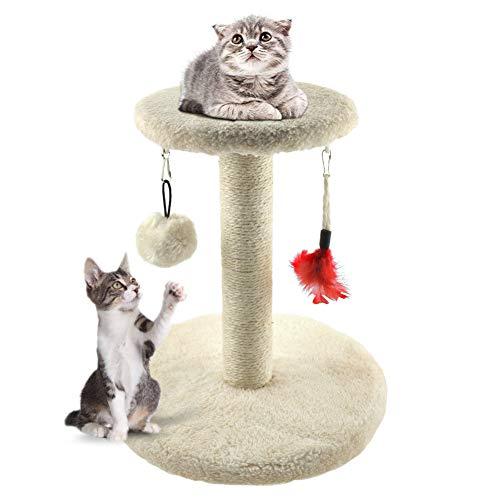 Zubita Katzen Kratzbaum Klein mit Katzenspielzeug Katzenkratzbaum Plüsch Spielzeug Kratzsäule Katzentreppe für Katzen Kätzchen