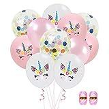 Dsaren 40 Pcs Globos Unicornio Colores Globos Confeti con 1 Cinta de Rizo Decoraciones Cumpleaños Boda Navidad Suministros para Fiestas