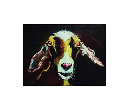QTTZWZQ Handgemaltes Tierölgemälde Schöne Ziege Abstrakte Malerei Für Hauptdekorationen 50X75 cm A