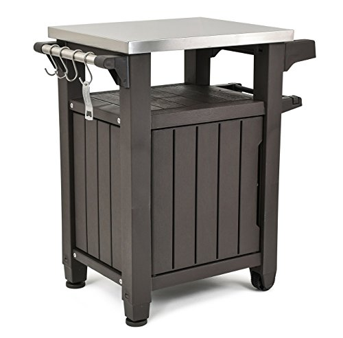 Keter Unity Portable Outdoor Table and Storage Cabinet with Hooks for Grill Accessories-Stainless Steel Top for Patio Kitchen Island or Bar Cart, Espresso Brown