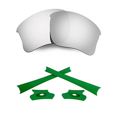 HKUCO for Oakley Flak Jacket XLJ Silver Polarized Replacement Lenses and Green Earsocks Rubber Kit