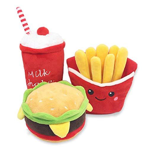 Vdn Djvn Hundespielzeug, 3-teilig, aus Plüsch, Cartoon, Burger Pommes Frites Getränke, Tasse, Puppenform, Kauspielzeug zum Kauen, Spielzeug-Set, Farbe wie angegeben 11 x 7 cm, 14 x 13 cm, 9 x 19 cm