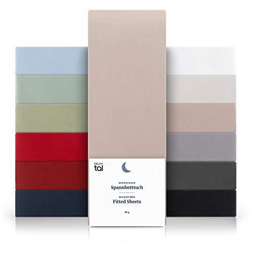 Blumtal Basics Set de 2 Sábana Bajera Ajustable 100x200cm Microfibra - Sábana de hasta 25 cm de Altura del colchón, Topo