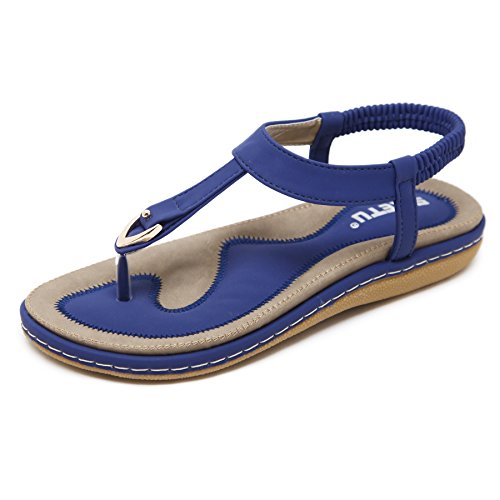 Meeshine Women's Bohemia Flip Flops Summer Beach T-Strap Flat Sandals Comfort Walking Shoes Blue US 8.5