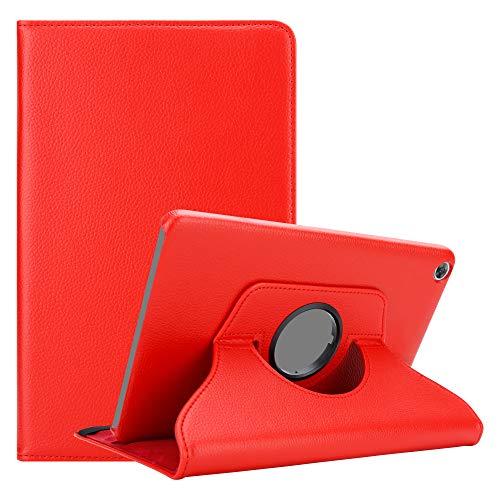 """Cadorabo Funda Tableta para Huawei MediaPad M5 8 (8.4"""" Zoll) in Rojo Amapola – Cubierta Proteccíon en Estilo Libro SIN Auto Wake Up con Función de Suporte e Cierre Cinta Elástica"""