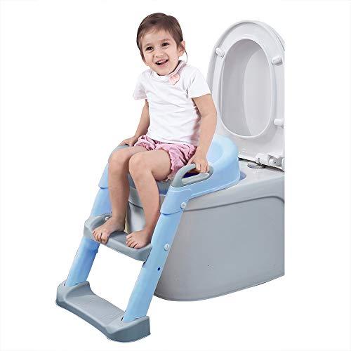 補助便座 おまる 折りたたみ トイレトレーニング 子供用 幼児用便座 キッズ用便座 子どもトイレ ベビー補助便座 挟まれ防止 滑り止め 踏み台 取外し可能 (ブルー)