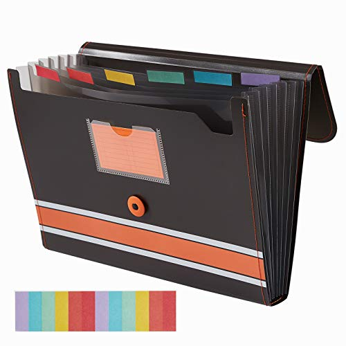 Sooez Expanding File Folder Paper Organizer with Sticky Labels, 7 Pockets File Organizer Accordion File Organizer, Letter/A4 Paper/Document Folder Organizer, File Folder Organizer File Holder, Orange