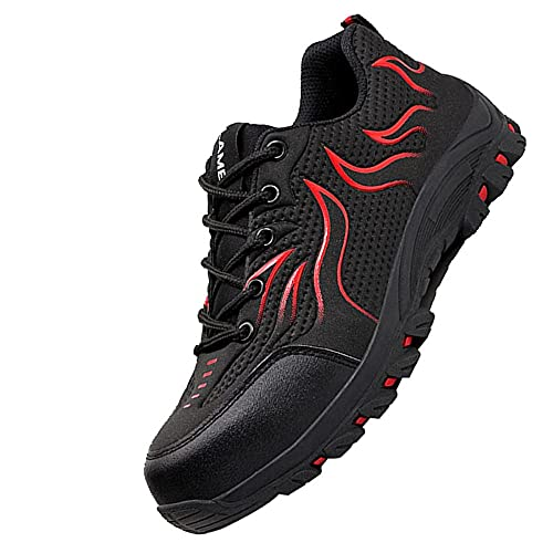 Transpirable Zapatos de Trabajo Punta de Acero,Punta de Acero Zapatos Ligero Zapatos de Trabajo Respirable...