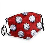 Waschbarer Mundschutz Anti-Staub-Gesichtsschutz,Volleyballball-Symbol auf rotem Hintergrund,Wiederverwendbar winddicht für Outdoor-Ski Radfahren Camping Laufen