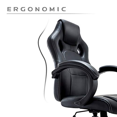 IntimaTe WM Heart Racing Chaise de Gamer Ergonomique Fauteuil de Bureau Siège Baquet Gaming (Noir)