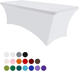 Eurmax 6Ft Rectangular Fitted Spandex Tablecloths Wedding Party Table Covers Event Stretchable Tablecloth (White)