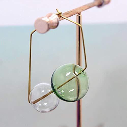 DFDLNL Pendientes de aro de Burbujas de Colores Mezclados Hechos a Mano de Vacaciones para Mujer Pendientes Cuadrados de Bola de Cristal Boucle D'oreilleVerde y Blanco
