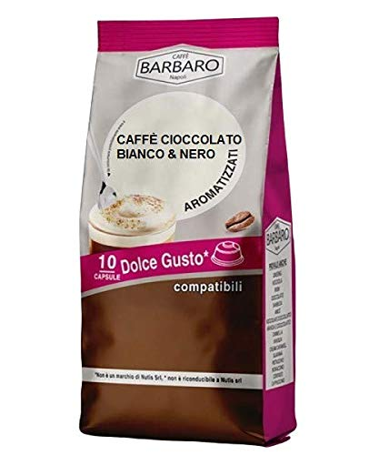 WITTE EN ZWARTE CHOCOLADE KOFFIE BARBARO - 10 DOLCE GUSTO COMPATIBELE CAPSULES 7g
