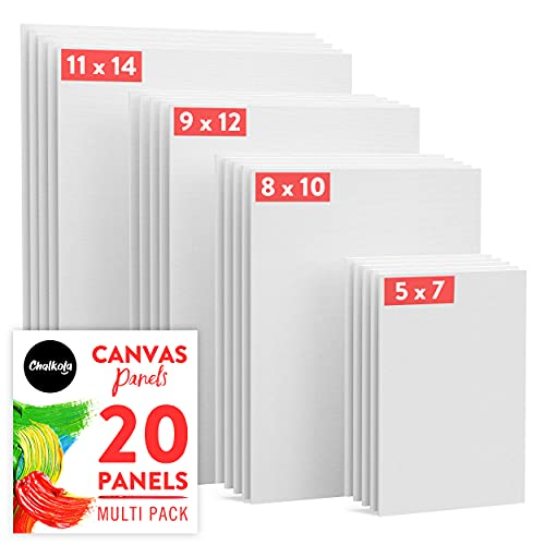 Chalkola Paint Canvases for Painting Multipack - 20 Pack Blank Canvas Panels - 5x7, 8x10, 9x12, 11x14 inch (5 Each) - 100% Cotton, Primed, Acid Free Art Canvas Boards for Painting with Acrylic & Oil