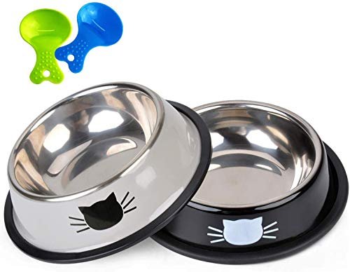 Legendog 2PCS Pet Bowl Stainless Steel Non-Skid Cute Dog Bowl Cat Bowl with 2 Food Scoop