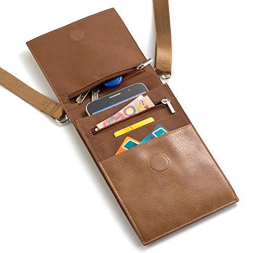 Handy Schultertasche, PU Leder Mini Umhängetasche Messenger Bag Schulter Multifunktionale Handytasche mit Kartenfächer, für Damen, Mädchen iPhone, Samsung, Huawei (Brown)