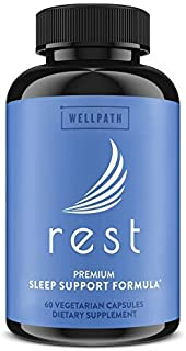 Rest Natural Sleeping Pills for Adults (60ct) | Non-Habit Forming Sleep Aids for Adults Extra Strength | Sleep Supplements...