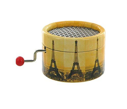 Lutèce Créations Boîte à Musique à manivelle en Carton renforcé et décoré de la Tour Eiffel en Construction (Réf: PML-03) - Parlez-Moi d'amour (J. Lenoir)