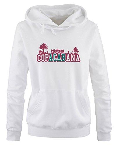 Comedy Shirts - Copacabana Palmen - Damen Hoodie - Weiss / Fuchsia-Türkis Gr. M