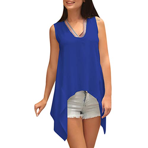YIHANK Fashion Women Ladies V Neck Sleeveless T-Shirt Tops Blouse Irregular Vest Tank Developer Clip Girlfriend Ad Amount Sight Yesterday Stock Origin Her Upon Kneader Requirement