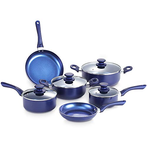 KUTIME 10pcs Cookware Set Non-stick Pots and Pans Set Blue Pan Non-stick Frying Pan Set Ceramic Coating Saucepan Stockpot with Lid, Gas, Induction Compatible, 1 Year After sale service