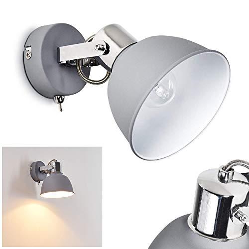 Wandleuchte Dompierre, verstellbare Wandlampe aus Metall in Grau/Weiß, 1-flammig, 1 x E14-Fassung max. 25 Watt, Wandspot im Retro/Vintage Design m. An-/Ausschalter am Gehäuse, LED geeignet