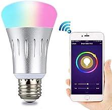 مصباح إضاءة واي فاي E27 الذكي 7 وات RGB متعدد الألوان أضواء لمبة LED تعمل مع الهاتف الذكي أليكسا جوجل هوم مع زر مؤقت وضع ا...