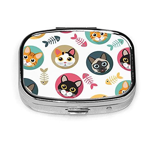 Cute Cats And Fishbone Custom Fashion Silver Square Pill Box Medicine Tablet Holder Wallet Organizer Case For Pocket Or Purse Vitamin Organizer Holder Decorative Box