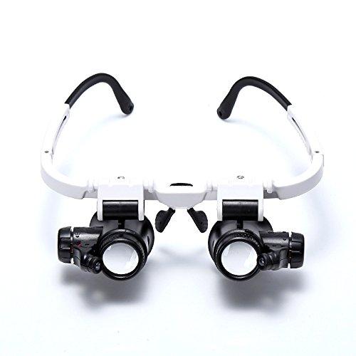 TOOGOO 8x 15x 23x Lupa de ojo doble Llevar la cabeza Lupa iluminada para joyero reparacion de reloj Gafas de aumento con luz LED