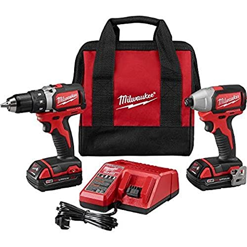 Milwaukee 2798-22CT-18V Compact Brushless Drill/Brushless Impact Combo Kit (2 Tool) + 2 Li-Ion Battery(18V/1.5Ah) + Multi-Voltage Charger(12-18V) + Belt Clip + Contractor Bag