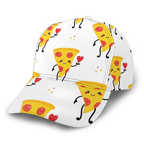 MayBlosom Unisex Baseball Cap Smiling Pizza 3D Print Classic Fashion Casual Adjustable Polyester Hat Black