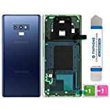 Afeax Compatible Back Glass Door Cover Housing Installed Camera Frame Lens Adhesive Replacement for Samsung Galaxy Note 9 - Any Carrier - N960 (Blue)