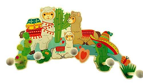 Hess Holzspielzeug 30348 – Perchero de madera, serie Lama, con 5 ganchos, para niños, aprox. 35 x 21 x 6,5 cm, hecho a mano, atraerá todas las miradas en cualquier habitación infantil y pasill