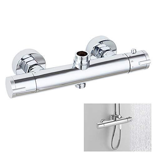 Uiano - Grifo termostático de ducha con 2 salidas altas y bajas y mezclador termostático con protección de seguridad para cuarto de baño