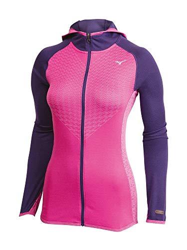 Mizuno Running Women's Breath Thermo Double Knit Full Zip Hoodie, Large, Rose Bud/Mulberry Purple