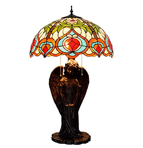 MISLD Tiffany Style Table Lamp Peach Heart Angel Art Deco Glass Desk Lamp Stained For Vintage Life Bedside Lamp
