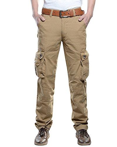 Anyu Pantalones Cargo para Pantalón Militar Pantalone Multibolsillos Hombre Caqui 38