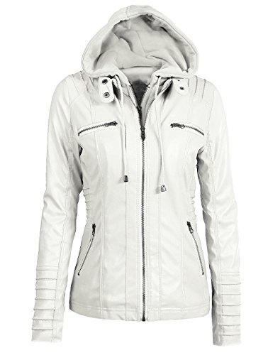 EMMA - Chaqueta para Mujer con Capucha Desmontable con Cremallera, color blanco, X-Large