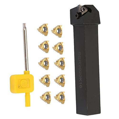 Herramienta de torneado de torno, 10 piezas 16ER AG60 Blade Insert + SER2020K16 Torno CNC Torneado de herramientas Barra de mandrinar + 1pc Llave