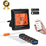 JHDUID Wireless Meat Thermometer,Smart Bluetooth BBQ Grill Thermometer with 6 Stainless Steel Probes APP Controlled Digital Thermometer for Cooking Smoker Grill Oven Kitchen Support iOS & Android