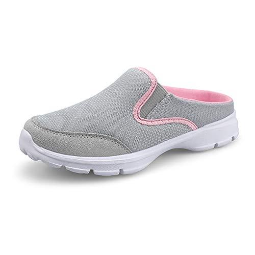[Sanguine] レディーススニーカー かかとなしスニーカー スリッポン 安全靴 超軽量 紐なし ナースシューズ 看護師 作業靴 着脱簡単 お母さん 婦人靴 ママシューズ シューズ 中高齢者靴 グレー 25.0cm