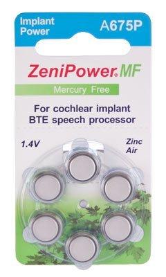 ZeniPower Cochlear Implant Batteries Size A675P Zero Mercury (60 Batteries)