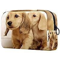 化粧ポーチ構成収納化粧品トイレタリーポータブルケース素敵なゴールデンレトリーバーの子犬 アウトドア旅行用